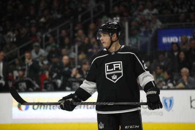 "<a class=""link rapid-noclick-resp"" href=""/nhl/teams/los/"" data-ylk=""slk:Los Angeles Kings"">Los Angeles Kings</a>' <a class=""link rapid-noclick-resp"" href=""/nhl/players/3351/"" data-ylk=""slk:Dustin Brown"">Dustin Brown</a> has reached the 50-point plateau for the first time in six years. (AP Photo/Jae C. Hong)"