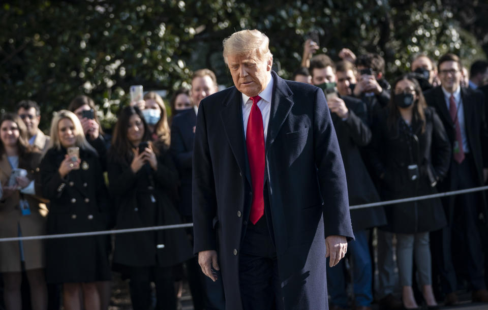 U.S. President Donald Trump walks toward reporters as he exits the White House to walk toward Marine One on the South Lawn on January 12, 2021 in Washington, DC. (Drew Angerer/Getty Images)