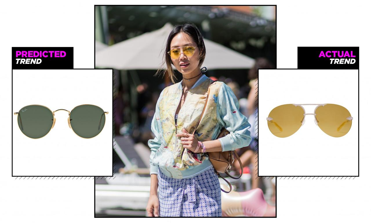 <p>Goodbye Ray-Bans and hello eyewear with colored lenses. These '90s throwback-style shades were everywhere, as seen here on fashion blogger Aimee Song, who rocked a yellow tinted version at a Coachella pool party. (Photo: Getty) </p>