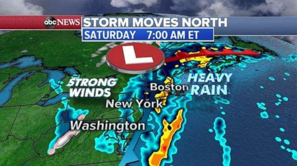 PHOTO: Heavy rain will continue throughout the day on Saturday for New York and New England. (ABC News)