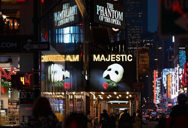 PHOTO: Signage of the Broadway play 'The Phantom of the Opera' is seen at Times Square in New York City on March 12, 2020. (Angela Weiss/AFP via Getty Images)