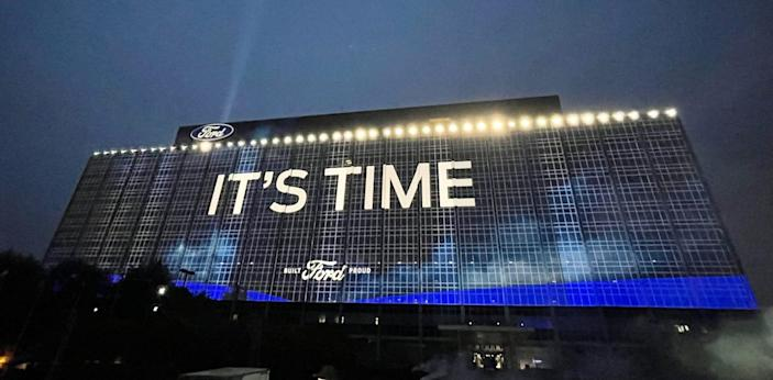 Ford Motor Company installed an enormous projection screen on the exterior of Ford World Headquarters facing Michigan Avenue in Dearborn in preparation for the global debut of the all-electric F-150 debuting on May 19, 2021. This image was taken on May 14, 2021.