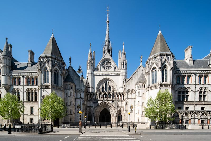 A view of The Royal Courts of Justice in London as the UK continues in lockdown to help curb the spread of the coronavirus.