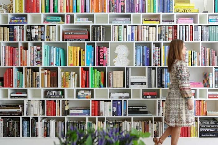 Neat, colorful bookshelf designs straight from the Novogratz' new decorating book.