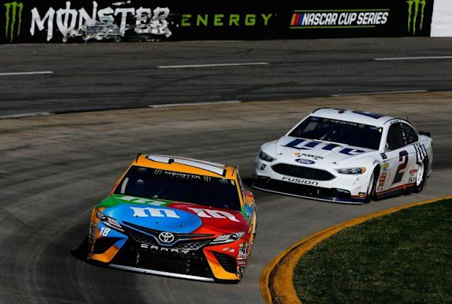 Kyle Busch led Brad Keselowski at Martinsville until Keselowski passed him with 44 laps to go. (Getty)
