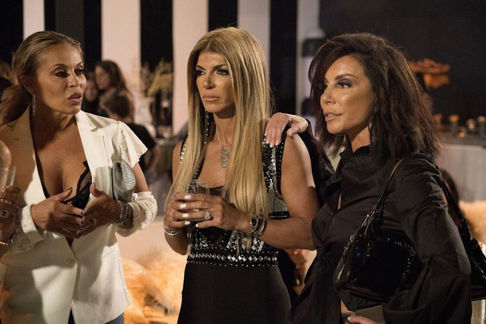 """<p>Just look at Danielle Staub, Camille Grammer, or Vicki Gunvalson. These OG Housewives were given the dreaded demotion to """"friend of the Housewives,"""" which means <a href=""""https://radaronline.com/exclusives/2019/07/vicki-gunvalson-salary-cut-rhoc-demotion/"""" rel=""""nofollow noopener"""" target=""""_blank"""" data-ylk=""""slk:less air time, money, and storylines"""" class=""""link rapid-noclick-resp"""">less air time, money, and storylines</a>. </p>"""