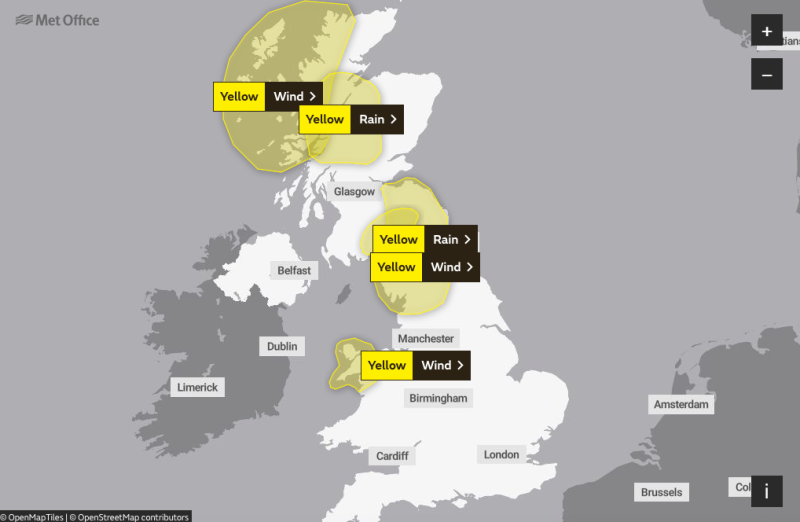 Yellow warnings are set to hit northern parts of the country this weekend (Met Office)