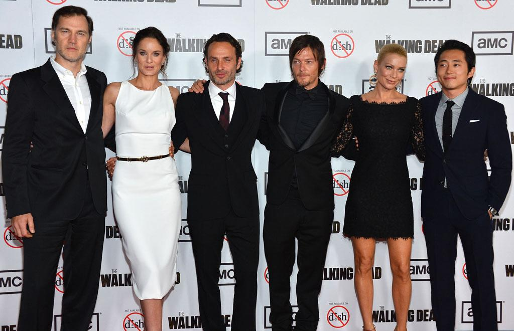 "David Morrissey, Sarah Wayne Callies, Andrew Lincoln, Norman Reedus Laurie Holden and Steven Yeun attend AMC's ""The Walking Dead"" Season 3 Premiere held at Universal CityWalk on October 4, 2012 in Universal City, California."