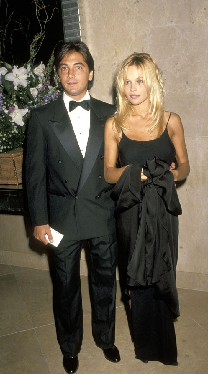 "Scott Baio and Pamela Anderson <a href=""http://www.people.com/people/archive/article/0,,20061439,00.html"" rel=""nofollow noopener"" target=""_blank"" data-ylk=""slk:called each other sweetheart in the late '80s and early '90s"" class=""link rapid-noclick-resp"">called each other sweetheart in the late '80s and early '90s</a>."