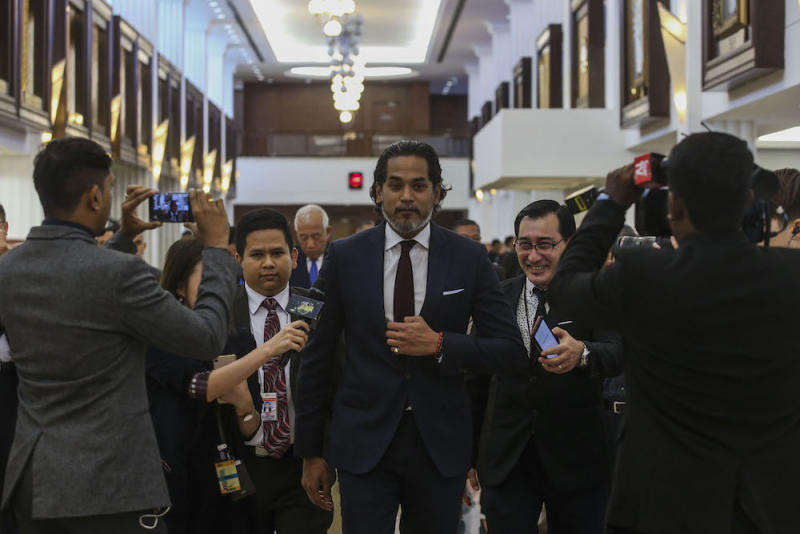 Rembau MP Khairy Jamaluddin is seen in the lobby of Parliament in Kuala Lumpur July 15, 2019. — Picture by Hari Anggara