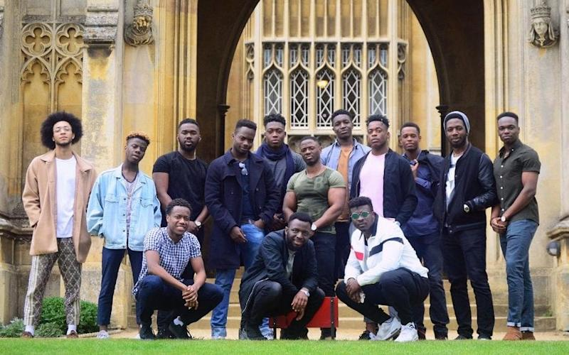 Members of Cambridge University's Afro-Caribbean Society (CUACS) posed for a photograph outside St John's College.