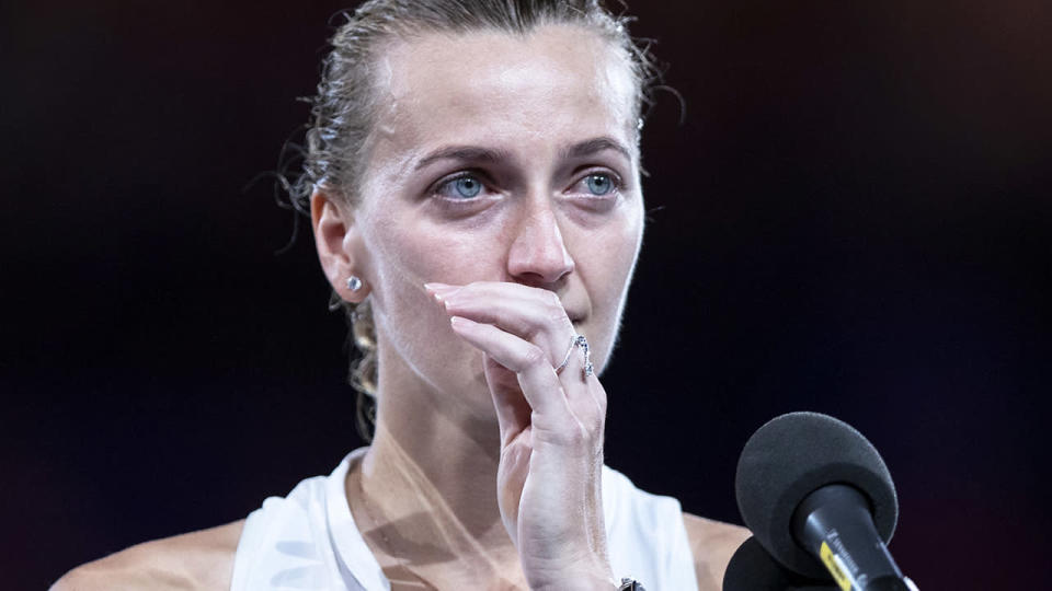 Petra Kvitova broke down in her runner-up speech. (Photo by Fred Lee/Getty Images)