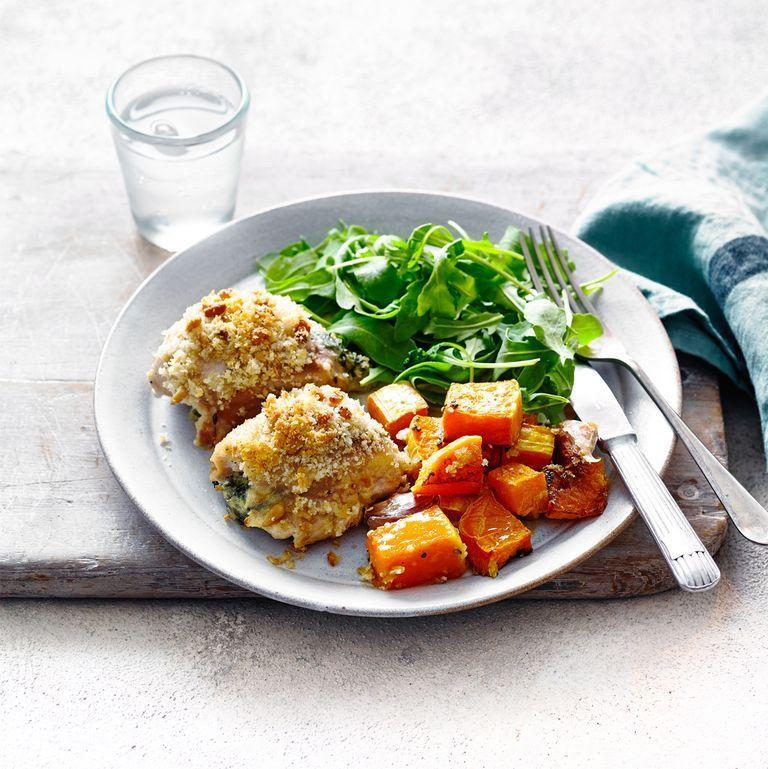 """<p>Chicken thigh fillets are an economical option and they have more flavour and retain their moisture better than chicken breasts.</p><p><strong>Recipe: <a href=""""https://www.goodhousekeeping.com/uk/food/recipes/a29101546/chicken-thigh-traybake/"""" rel=""""nofollow noopener"""" target=""""_blank"""" data-ylk=""""slk:Stuffed Chicken Thigh Traybake"""" class=""""link rapid-noclick-resp"""">Stuffed Chicken Thigh Traybake</a></strong></p>"""