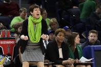 Notre Dame head coach Muffet McGraw yells during the first half of a regional semifinal game against the Texas A&M in the NCAA women's college basketball tournament, Saturday, March 30, 2019, in Chicago. (AP Photo/Nam Y. Huh)