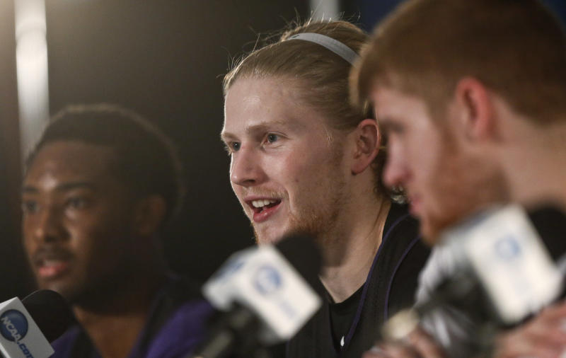 Stephen F. Austin forward Jacob Parker talks about his team's third-round game Sunday against UCLA in the NCAA college basketball tournament, at a news conference Saturday, March 22, 2014, in San Diego. (AP Photo/Lenny Ignelzi)