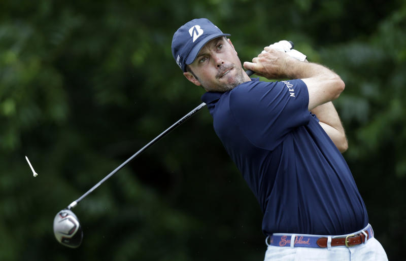 Matt Kuchar watches his tee shot on the sixth hole during the final round of the Colonial golf tournament on Sunday, May 25, 2013, in Fort Worth, Texas. (AP Photo/LM Otero)