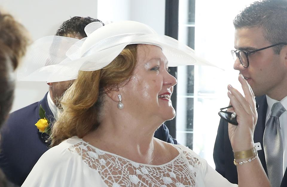 MELBOURNE, AUSTRALIA - NOVEMBER 06:  Gina Rinehart at the Furphy Marquee on Melbourne Cup Day at Flemington Racecourse on November 6, 2018 in Melbourne, Australia.  (Photo by Scott Barbour/Getty Images)