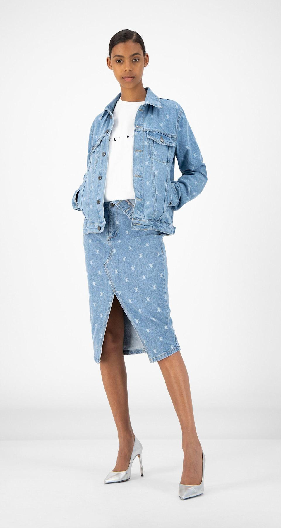 """<p><strong>Daily Paper</strong></p><p>dailypaperclothing.com</p><p><strong>$132.00</strong></p><p><a href=""""https://www.dailypaperclothing.com/collections/women-all/products/light-blue-denim-rehowi-skirt?variant=31587380920454"""" rel=""""nofollow noopener"""" target=""""_blank"""" data-ylk=""""slk:Shop Now"""" class=""""link rapid-noclick-resp"""">Shop Now</a></p><p>Everyone loves a coordinating set, and a denim one with an eye catching slit will get you so many compliments this season. </p>"""