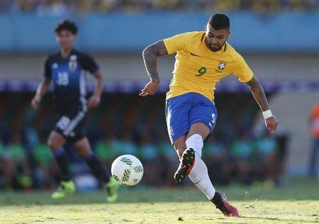 FILE PHOTO: 2016 Rio Olympics - Football friendly - Goiania, Brazil - 30/07/2016. Gabriel Barbosa scores. REUTERS/Ueslei Marcelino