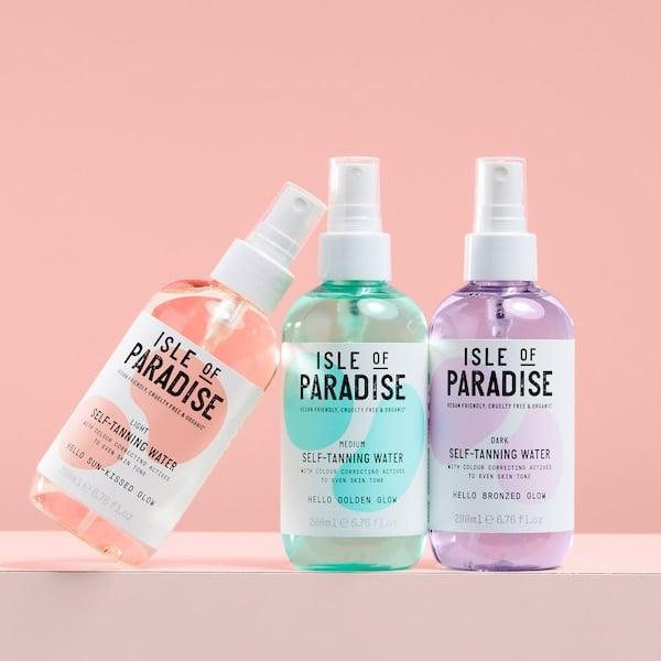 <p>If you're looking for something other than a mousse or lotion, try the <span>Isle of Paradise Self-Tanning Water</span> ($28). Simply mist it on and blend, and you'll have a glow overnight.</p>