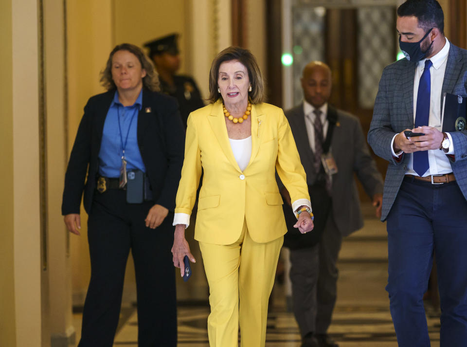 Speaker of the House Nancy Pelosi, D-Calif., walks to her office as the select committee on the Jan. 6 attack prepares to hold its first hearing Tuesday, at the Capitol in Washington, Monday, July 26, 2021. The panel will investigate what went wrong around the Capitol when hundreds of supporters of Donald Trump broke into the building and rioters brutally beat police, hunted for lawmakers and interrupted the congressional certification of Democrat Joe Biden's election victory over Trump. (AP Photo/J. Scott Applewhite)