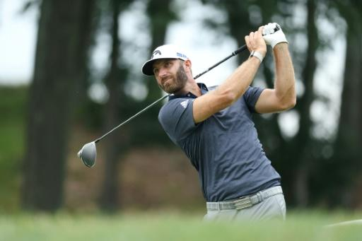 Former world number one Dustin Johnson tees off at 18 on the way to second place through 54 holes of the US PGA Tour Travelers Championship