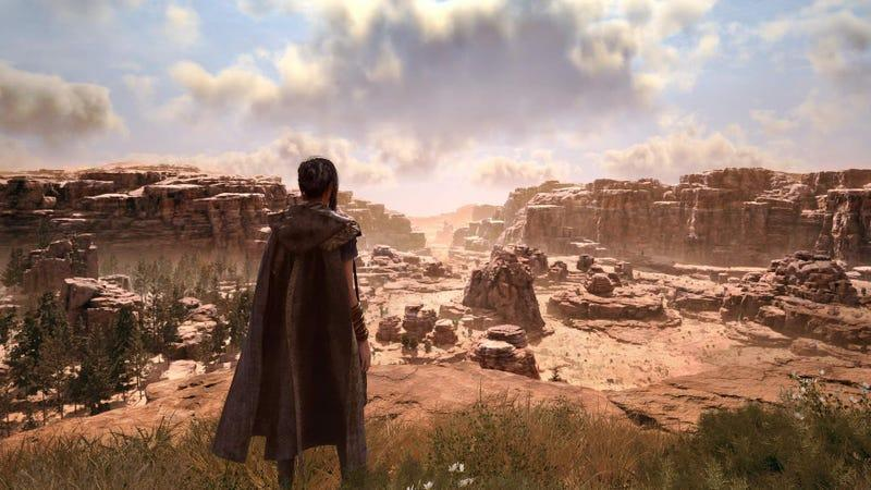a woman stands in a dusty canyon in forspoken