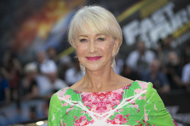 Actress Dame Helen Mirren poses for photographers at a special screening of Fast & Furious: Hobbs & Shaw, in a central London cinema, Tuesday, July 23, 2019. (Photo by Joel C Ryan/Invision/AP)