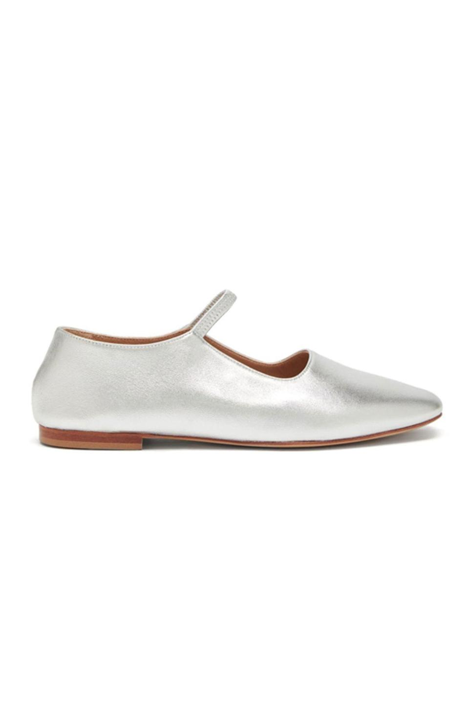 """<p><strong>Mansur Gavriel</strong></p><p>matchesfashion.com</p><p><strong>$395.00</strong></p><p><a href=""""https://go.redirectingat.com?id=74968X1596630&url=https%3A%2F%2Fwww.matchesfashion.com%2Fus%2Fproducts%2F1378707&sref=https%3A%2F%2Fwww.townandcountrymag.com%2Fstyle%2Ffashion-trends%2Fg36544376%2Fbest-metallic-accessories%2F"""" rel=""""nofollow noopener"""" target=""""_blank"""" data-ylk=""""slk:Shop Now"""" class=""""link rapid-noclick-resp"""">Shop Now</a></p><p>Mary Janes are having a resurgence this year. We like Mansur Gavriel's twist on the style with a glove fit and soft silver leather. </p>"""