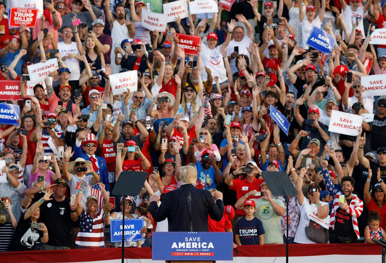 Former US President Donald Trump turns around to face his supporters during his campaign-style rally in Wellington, Ohio, on June 26, 2021. (Stephen Zenner/AFP via Getty Images)