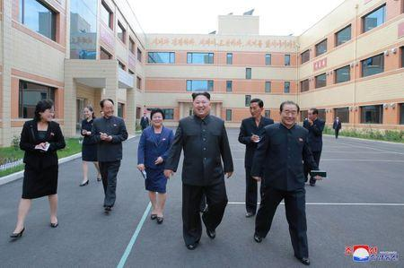 North Korean leader Kim Jong-Un visit a shoe factory in this undated photo released by North Korea's Korean Central News Agency (KCNA) in Pyongyang on October 19, 2017. KCNA/via REUTERS