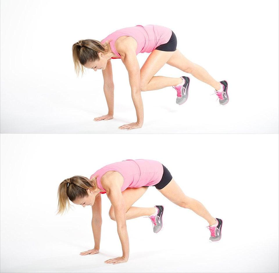 <ul> <li>Start in a traditional push-up starting position - shoulders over hands and weight on just your toes.</li> <li>Bring your right foot forward, bending the knee and putting weight on the ball of your foot.</li> <li>Switch legs, bringing the left knee forward while moving the right leg back. This completes one rep.</li> </ul>