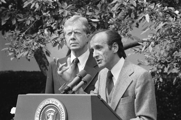 """<span class=""""caption"""">Elie Wiesel, chairman of the President's Commission on the Holocaust, spoke about the Holocaust and presented President Carter with the panel's final report. Carter vowed that a U.S. memorial would be built.</span> <span class=""""attribution""""><a class="""