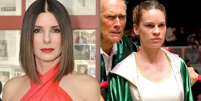 """<p>Sandra Bullock tried to get the movie about a professional boxer <a href=""""http://www.contactmusic.com/sandra-bullock/news/bullock-fires-back-at-million-dollar-baby-reports"""" rel=""""nofollow noopener"""" target=""""_blank"""" data-ylk=""""slk:made for years"""" class=""""link rapid-noclick-resp"""">made for years</a>, but by the time it was green-lit, she was attached to <em>Crash</em>, so Hilary Swank starred in <em>Million Dollar Baby </em>instead and won an Oscar for the role. </p>"""