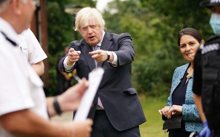 Boris Johnson made the remarks on his first visit since having to self-isolate because of his Health Secretary's positive test - YUI MOK/POOL/AFP
