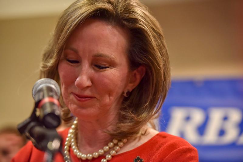 Rep. Barbara Comstock (R-Va.) delivers her concession speech after being defeated by state Sen. Jennifer Wexton (D) in Virginia's 10th District race. The NRCC spent $5 million on Comstock, confounding many Republican strategists. (Photo: The Washington Post via Getty Images)