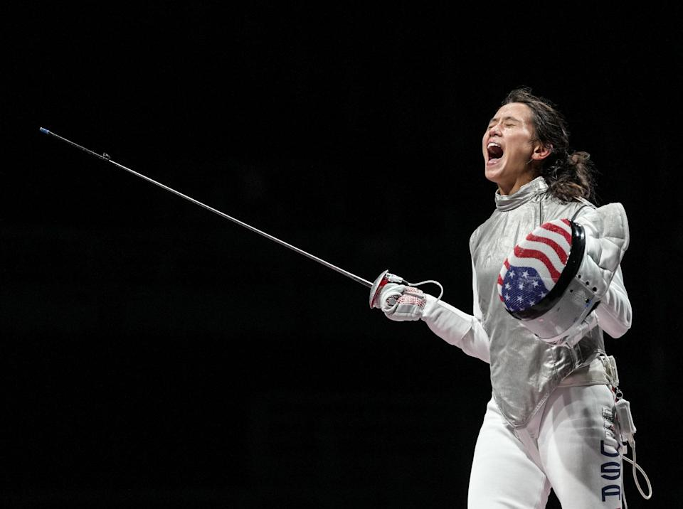 """<p>Biography: 27 years old</p> <p>Event: Women's individual foil (fencing)</p> <p>Quote: """"I still can't believe it. I was so calm, and now I am calm and confused. I want to be ready for my husband [fencer Gerek Meinhardt]'s event tomorrow and our team event.""""</p>"""