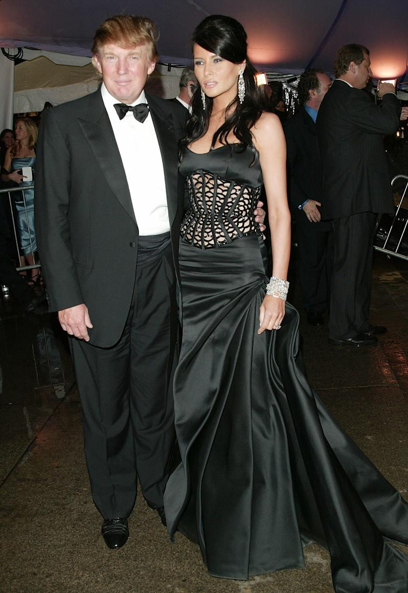 Trump and his then-girlfriend Melania Knauss at the Met Gala in 2004.  (Evan Agostini via Getty Images)