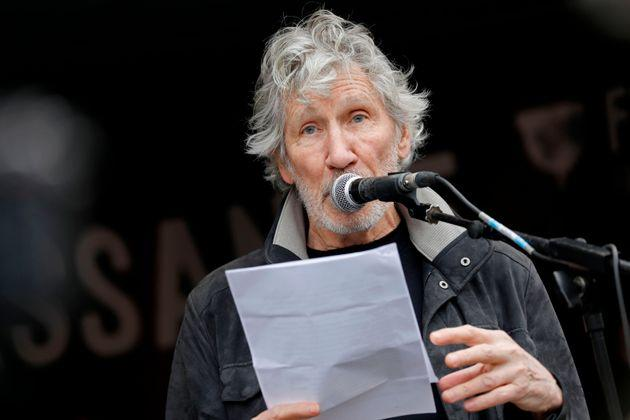 Pink Floyd's Roger Waters speaks after a march in support of Wikileaks founder Julian Assange in London on February 22, 2020.