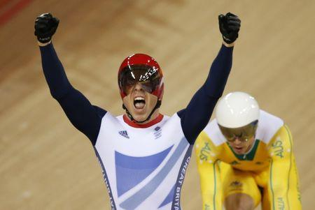File photo of Britain's Chris Hoy celebrating during the London 2012 Olympic Games