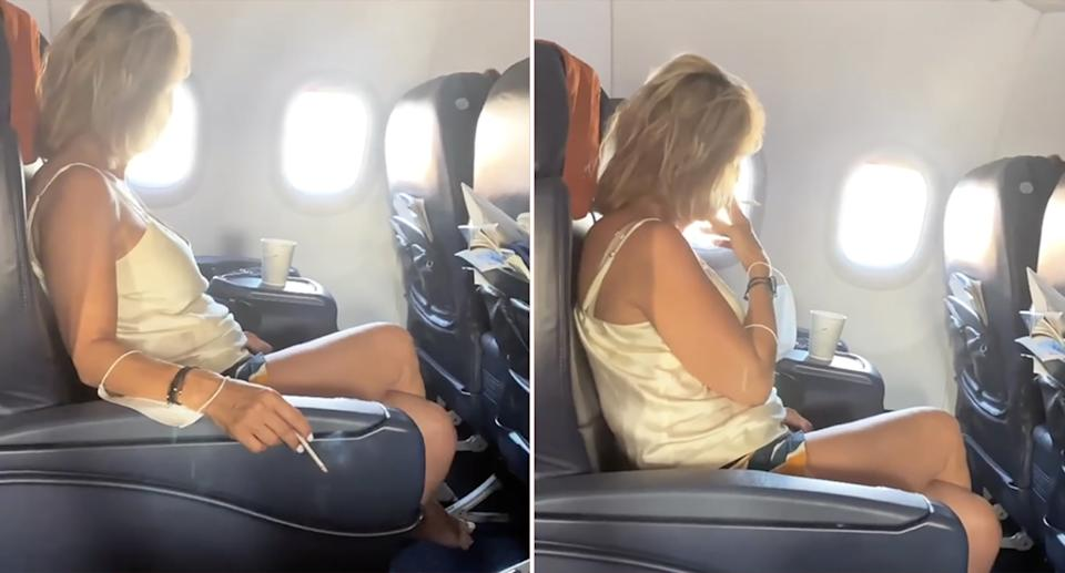 Two stills of a woman holding and smoking a cigarette while sitting on a plane.