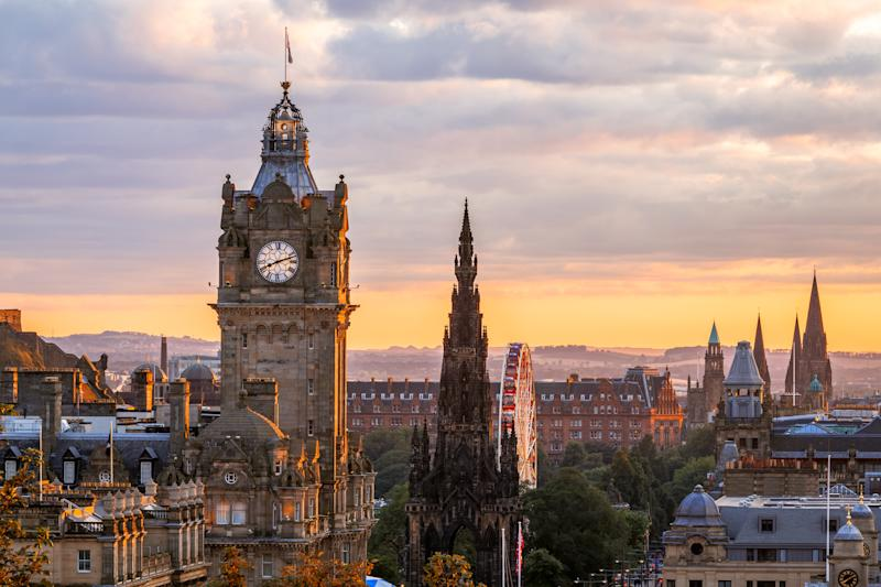 Edinburgh Skyline, Balmoral Clocktower, Scotland (Getty Images)