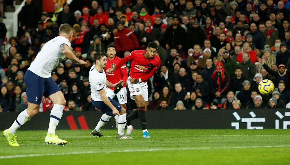 """Soccer Football - Premier League - Manchester United v Tottenham Hotspur - Old Trafford, Manchester, Britain - December 4, 2019  Manchester United's Marcus Rashford scores their first goal   REUTERS/Andrew Yates  EDITORIAL USE ONLY. No use with unauthorized audio, video, data, fixture lists, club/league logos or """"live"""" services. Online in-match use limited to 75 images, no video emulation. No use in betting, games or single club/league/player publications.  Please contact your account representative for further details."""