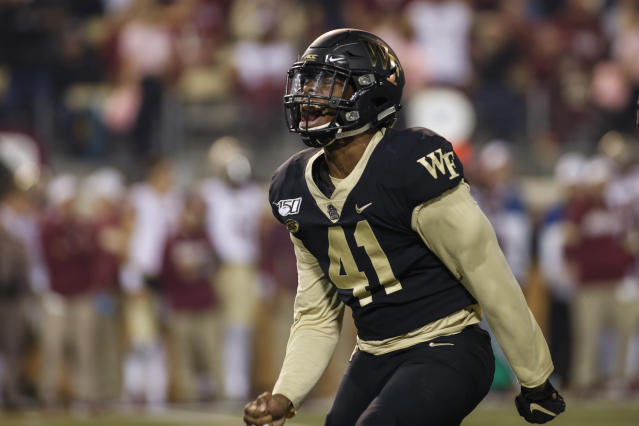 Wake Forest linebacker JaCorey Johns reacts after sacking Florida State quarterback James Blackman in the first half of an NCAA college football game in Winston-Salem, N.C., Saturday, Oct. 19, 2019. (AP Photo/Nell Redmond)