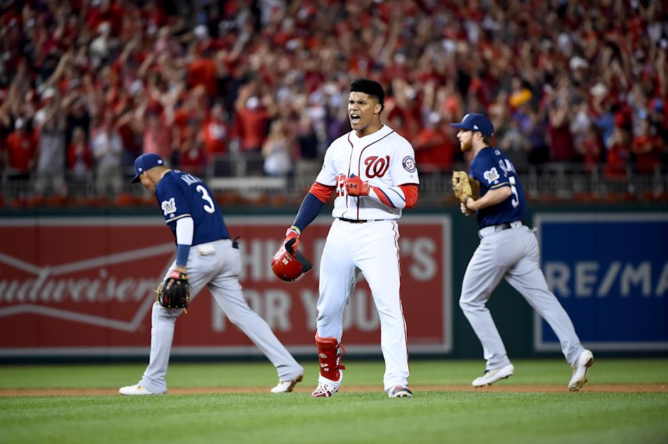 Juan Soto celebrates his three-run go-ahead single in the eighth inning of the NL wild card that gave the Nationals the win. (Photo by Will Newton/Getty Images)