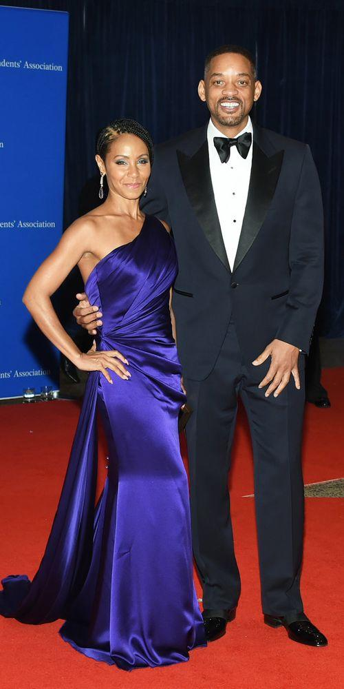 <p>Will Smiith in a tuxedo and Jada Pinkett Smith in<a href=