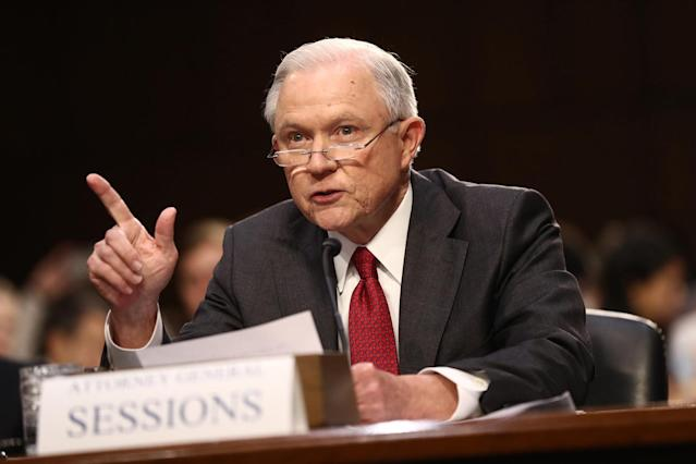 <p>Jeff Sessions, U.S. attorney general, speaks during a Senate Intelligence Committee hearing with U.S. Attorney General Jeff Sessions in Washington, D.C., U.S., on Tuesday, June 13, 2017. (Photo: Andrew Harrer/Bloomberg via Getty Images) </p>