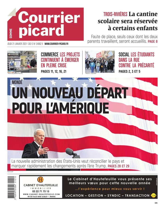 January 21, 2021 front page of Courrier picard