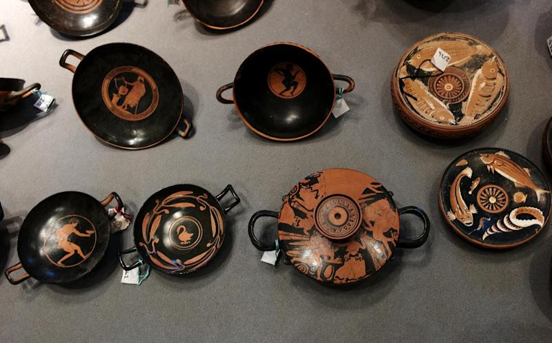 Roman era artefacts are displayed as part of the largest quantity of archaeological finds recovered by the Italian Military Police cultural and heritage protection unit at the National Roman Museum on January 21, 2015