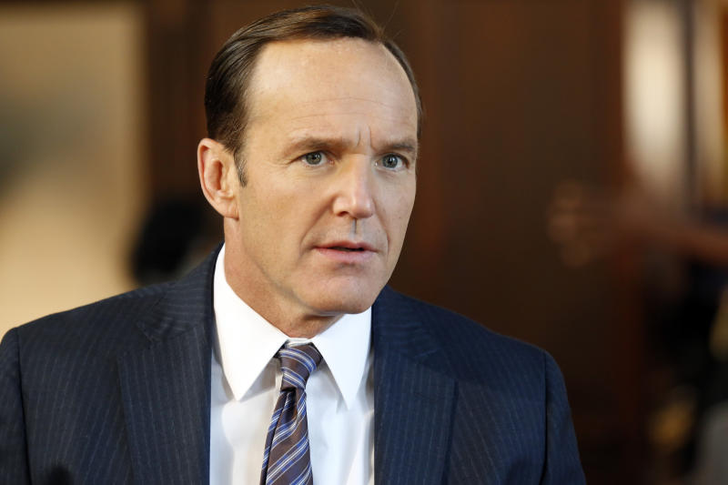 "This image released by ABC shows Clark Gregg in a scene from ""Marvel's Agents of S.H.I.E.L.D."" Five years ago, he played Agent Phil Coulson for the first time as a small role in the Robert Downey Jr. romp ""Iron Man."" Now, after gaining an ever-higher profile as Coulson in subsequent projects including last year's mega-hit ""The Avengers,"" Gregg has broken out as the star of ""Marvel's Agents of S.H.I.E.L.D.,"" the new ABC sci-fi thriller (airing Tuesdays at 8 p.m. EDT), which finds Coulson leading a hand-picked band of agents on their extra-special missions. (AP Photo/ABC, Justin Lubin)"